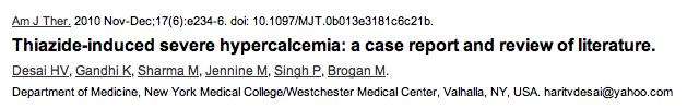 Thiazide Hypercalcaemia
